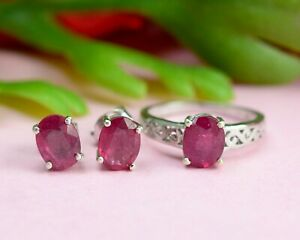 Natural Ruby Gemstone 925 Sterling Silver Anniversary Jewelry Ring Earring Set