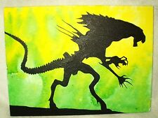Canvas Painting Alien Movie Queen Silhouette Green Art 16x12 inch Acrylic