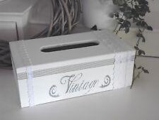 Kosmetiktücherbox,Kleenex Box, VINTAGE,Holz, weiß -  grau,Spitze, Shabby, Unikat