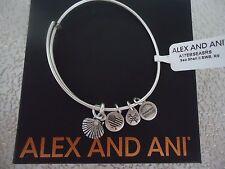 ALEX and ANI SEA SHELL II Rafaelian Silver Finish Bangle New W/Tag Card & Box