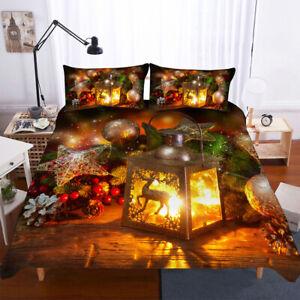 3D Merry Christmas Duvet Doona Quilt Cover Set Bedding Set Pillowcase Xmas Gift