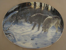WOLF collector plate DECEMBER WATCH Persis Clayton Weirs OVAL Winter Shadows #3