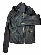 Biker Jacket Woman Black Leather Motorcycle Ladies Coat Slim zip Harley Riding