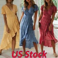 US Women Boho Floral V-Neck Ruffle Midi Dress Casual Short Sleeve Beach Sundress