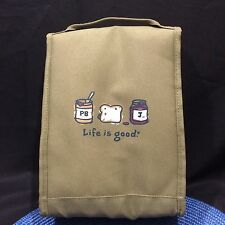Life is Good Lunch Bag Insulated Back to School Khaki Green Peanut Butter Jelly