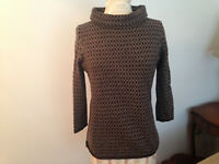 TALBOT's Brown Ivory Merino Wool Womens Turtleneck 3/4 Sleeve Knit Sweater M