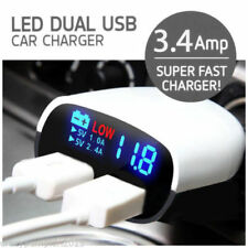 3.4Amp Dual USB Plug Fast Car Charger With LED Display For Mobiles & Tablets