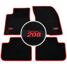 4 TAPIS SOL PEUGEOT 208 A PARTIR DE 2012 TOUS MOQUETTE LOGO ROUGE SPECIFIQUE