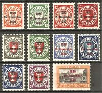 DR Nazi Danzig Rare WW2 Stamp 1930 Overprint 15 November Castle Service Full Set