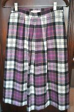 Vintage Womens Xs/S Pendleton Purple Black Plaid Wool Skirt