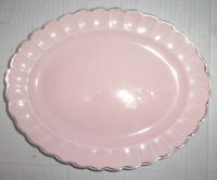 Sebring Pottery Shell Pink Oval Platter w/ Gold Scaloped Rim
