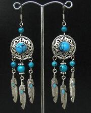 Jewelry Ladies Earrings Tibetan Silver Turquoise Woman Earrings