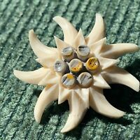 1950s Edelweiss Brooch Celluloid Flower Design Vintage Pin Jewellery