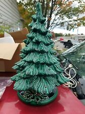 "Vintage 17"" Retro Nostalgic Ceramic Green Glaze Lighted Table Top Christmas Tree"