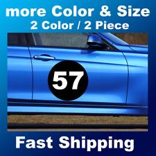 2x 2color Custom Racing Number Circle Decal Auto Car Race Sport Sticker