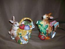 (Imperfect) Fitz & Floyd 1996 English Garden Creamer & Sugar Bowl Rabbits