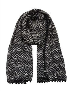 Ladies Women Lightweight Zigzag Black&White Pom Pom Long Scarf Neck Wrap Shawl