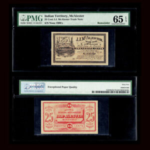 PMG 65 1900's J.J. McAlester - OKLAHOMA (Indian Territory) Merchant Scrip 25c