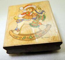 TV006 Beth Rocking Teddy Bear Rubber Stamp detailed 7X6cm Christmas