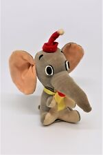 "Vintage 6"" Velvet Plush Dumbo Wood Filled Walt Disney Productions Made in JAPAN"