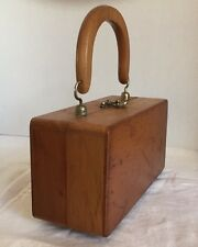 Vintage Solid Wood Box Purse! Fabric Interior. Simple. Beautiful. EXCELLENT COND