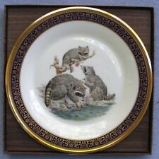 Lenox Woodland Wildlife Collector Plate Boehm 1973 Raccoons Mint w Box & Papers