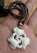 Triple Sea Turtles Buffalo Bone Hand Carving Pendant w/ 925 Sterling Silver Bale