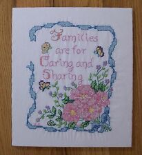 Finished Cross Stitch Sampler Butterflies Floral Families Are For Caring Sharing