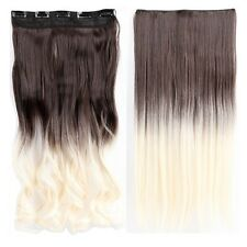 Women One Piece Real Clip in on Hair Extensions Full Head Straight Curly Wavy US