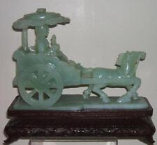 A FINE CHINESE JADE/JADEITE HORSE DRAWN CARRIAGE & LADY WITH SCEPTRE STATUE