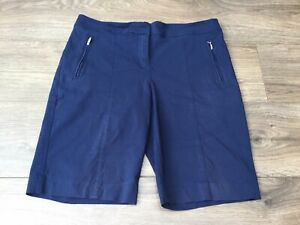 Izod Ladies Flat Front / Pocketed Stretch Golf Shorts Blue Size 10 / 12