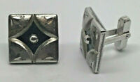 Square with Fancy Design and Black Enamel Cuff Links 925 Sterling Silver