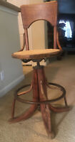 "ANTIQUE WOOD AND METAL STOOL 40"" TALL OVER 20 LB. MECHANICALLY SOUNDS STAMPED"