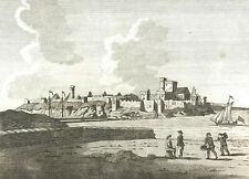 View of Peel Castle St Patricks Isle, Isle of Man, People on beach,Original 1795