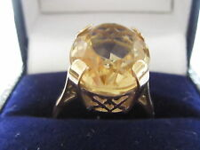 Vintage 9ct Yellow Gold Large Oval Citrine Solitaire Ring Size M
