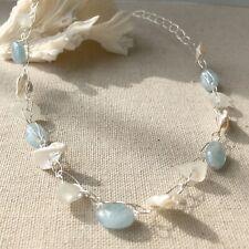 Single Strand Aquamarine and Genuine White Sea Glass Crochet Necklace