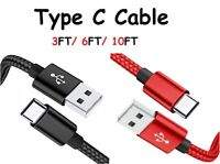 Braided Type-C Cable USB C to USB Fast Charging Cord 3/6/10FT for Samsung LG HTC