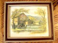 "John E Bradley Litho Print Grist Mill Picture Wall Art 10"" x 12"" Wood Frame"