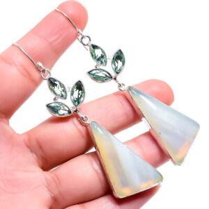 """Botswana Lace Agate, Green Amethyst Silver Jewelry Earring 3.2"""" ERJ83"""