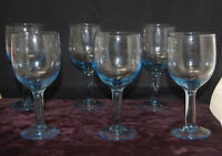 Set of 6 Blue Cut to Clear Wine Glasses / Water Goblets [S8239]