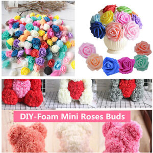50/100PCS Foam Mini Roses WHOLESALE Heads Buds Small Flowers Wedding Home Partys