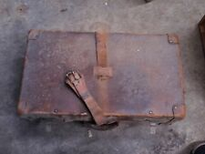 1920s English Leather Suitcase Travel Trunk