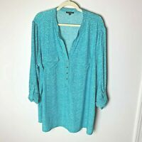 Ava & Grace Women's Top Size 3X 3/4 Roll-Tab Sleeves Casual Work Career Business