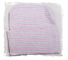 2 NEW NEWBORN 1 PLY BABY BOY GIRL HOSPITAL HATS BEANIE BLUE/PINK/WHITE STRIPED