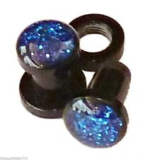 PAIR-Shimmer Blue Acrylic Screw On Plugs 05mm/4 Gauge Body Jewelry