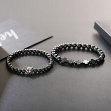 Fashion Men Hematite Therapy Stone Leopard Cross Beaded Rosary Bracelets Jewelry