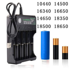 Rechargeable Li-ion Battery 4 Slots 18650 14500 Batteries Charger Smart Charging