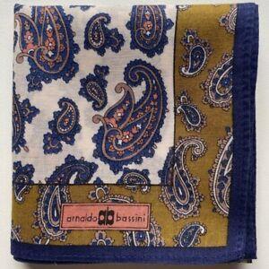 "USED HANDKERCHIEF CLASSIC ART NAVY BLUE PAISLEY COTTON 16"" MEN'S POCKET SQUARE"
