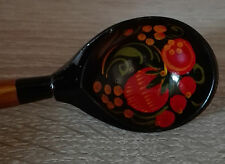 "Russian Golden Khokhloma ""Strawberry Fields"" Wooden Teaspoon - Hand Painted"