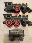 LOT OF 3 COLLECTIBLE CAST IRON LOCOMOTIVE AND COAL CAR SET BLACK/ RED